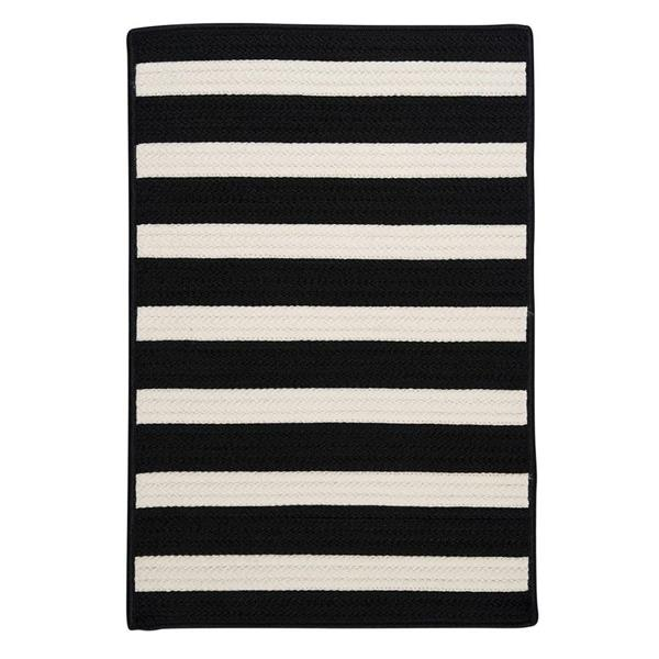 Colonial Mills Stripe It 4-ft x 4-ft Black White Area Rug