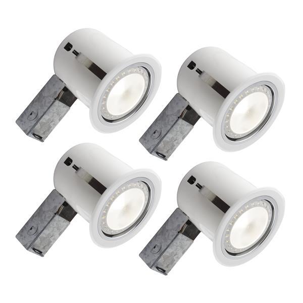 DEL encastrées blanches-ampoule incluse, pqt/4, 5''