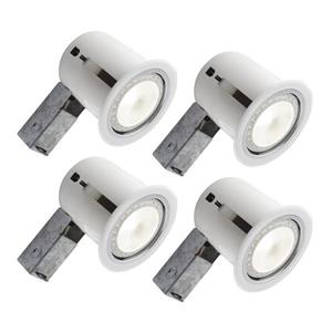 Bazz 5-in White Recessed LED Kit with Bulb Included (4-Pack)