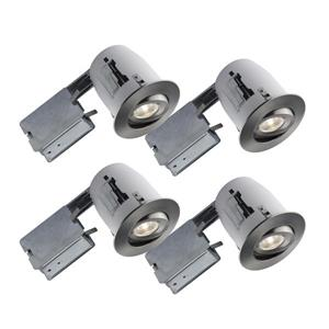 Bazz 4-in Brushed Chrome Recessed LED Kit 4 Pack