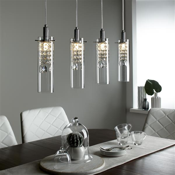 BAZZ LED 4-Branch Pendant Light with Clear Glass Shade - Chrome