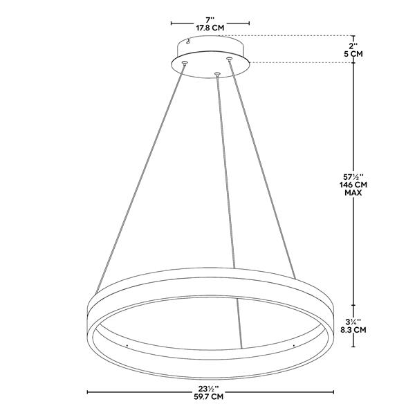 Bazz 23.5-in Circular Integrated LED Pendant