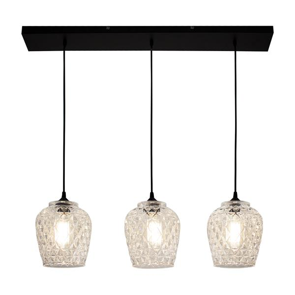 BAZZ Textured Glass Shade Triple Pendant - LED