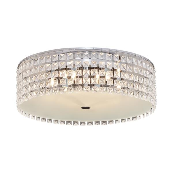 Bazz Glam 16-in Chrome and Glass Flush Mount Ceiling Light