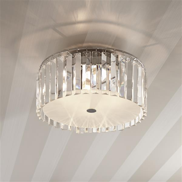 Bazz Glam 12-in Clear and Frosted Glass Plates 5-Light Frosted Ceiling Lamp