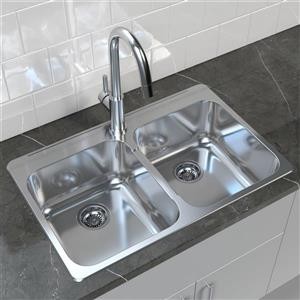 "Cantrio Koncepts Double Basin Drop-In Kitchen Sink - S Steel - 31"" x 20.5"""