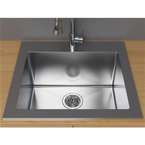 Cantrio Koncepts Steel Series 25-in x 22-in Stainless Steel Self Rimming Kitchen Sink