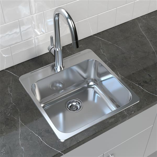 """Cantrio Koncepts Stainless Steel Self Rimming Kitchen Sink - 20"""" x 20.5"""""""