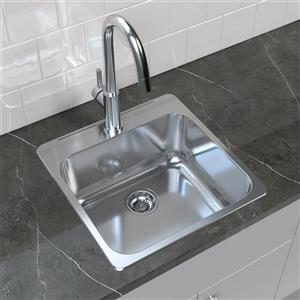 "Cantrio Koncepts Stainless Steel Self Rimming Kitchen Sink - 20"" x 20.5"""