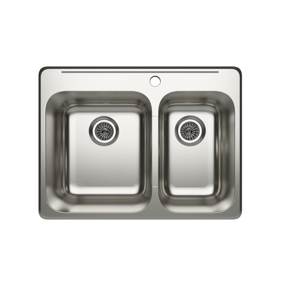 "Cantrio Koncepts Double Basin Topmount Kitchen Sink - S Steel - 27"" x 20"""