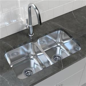 Double Basin Undermount Kitchen Sink - 32.25'' x 18.5''