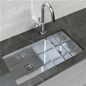 Double Basin Undermount Kitchen Sink - 33'' x 18''