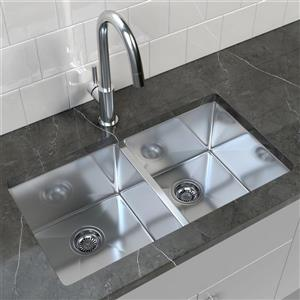 Stainless Steel Double Undermount Kitchen Sink - 32'' x 18''