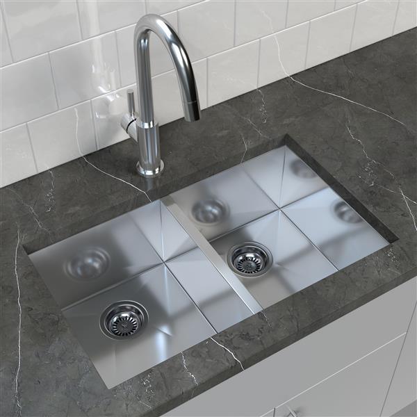 "Cantrio Koncepts Stainless Steel Double Undermount Kitchen Sink - 32"" x 18"""