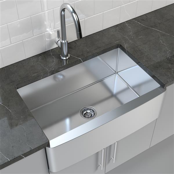 """Cantrio Koncepts Stainless Steel Farmhouse/Apron Kitchen Sink - 33"""" x 21"""""""