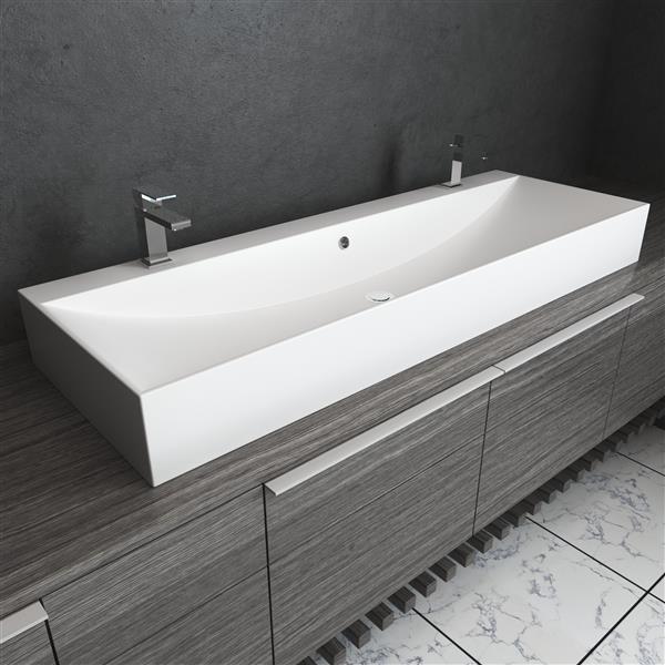 "Cantrio Koncepts Double-Faucet Modern Trough Sink - 46"" x 12"" x 5.5"""