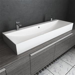 1-Hole Rectangular Vessel Bathroom Sink with Overflow