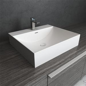 "Lavabo vasque rectangulaire, blanc, 16"" x 12"" x 4"""