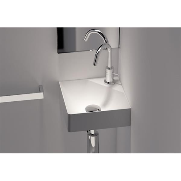 Cantrio Koncepts Wall-Mounted Corner Bathroom Sink - White - Square - 11.8""