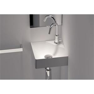 Semi-Recessed Countertop Sink - 1-Hole - White