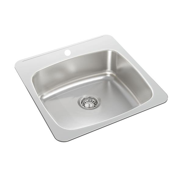 Wessan Stainless Steel Drop-In Kitchen Sink - 20 1/2-in x 20-in x 7-in