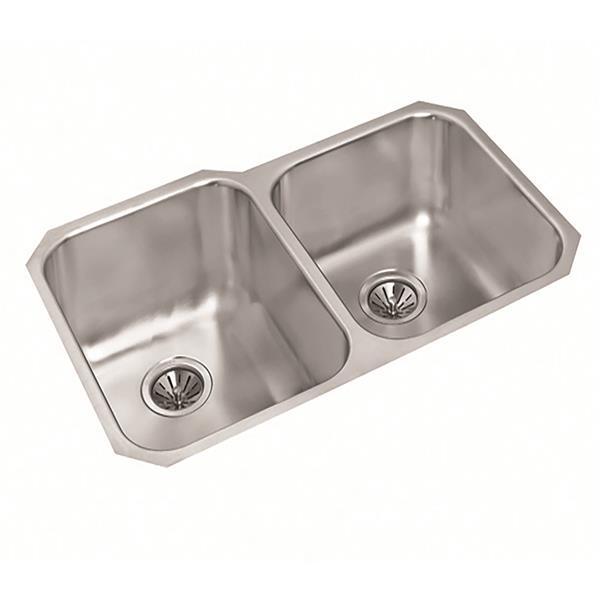 Wessan Double 1-3/4 Undermount Sink-19 7/8-in x 31-in x 8-in & 7-in