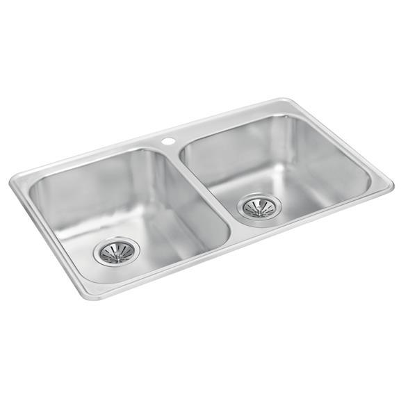 """Double 1-3/4 Drop-In Sink - 20 7/8"""" X 31 1/2"""" X 8"""" & 7"""""""