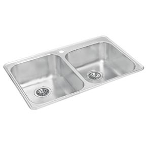Wessan Double 1-3/4 Drop-In Sink - 20 7/8-in x 31 1/2-in x 8-in & 7-in