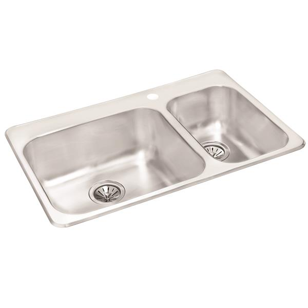 Wessan Stainless Double 1-1/2 Drop-In Sink -20 1/2-in x 31-in x 8-in & 7-in