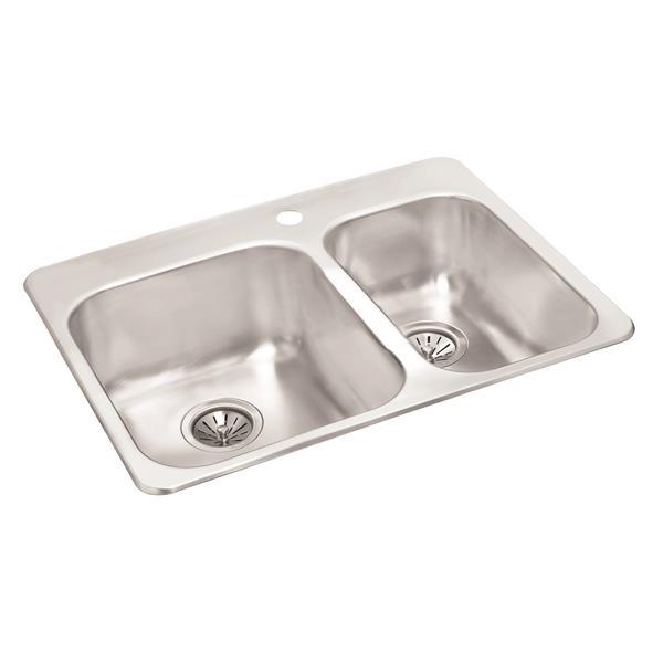 Wessan Double 1-1/2 Drop-In Sink - 20 1/2-in x 27 1/4-in x 8-in & 7-in