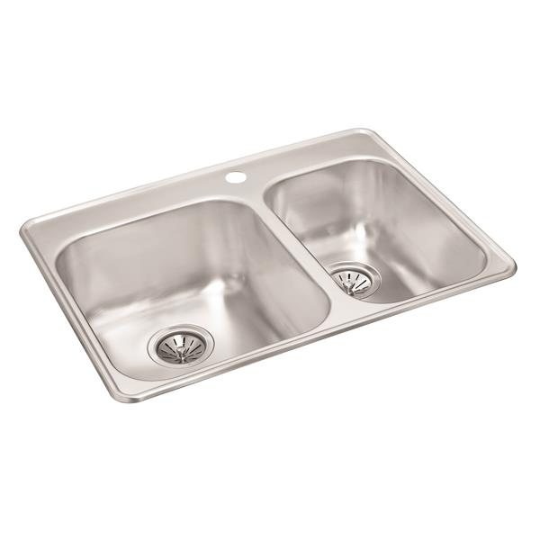 Wessan Double 1-1/2 Drop-In Sink - 20 7/8-in x 27 1/2-in x 8-in & 7-in