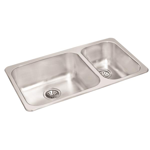 Wessan Stainless Double 1-1/2 Drop-In Sink -18-in x 31 1/2-in x 8-in & 7-in