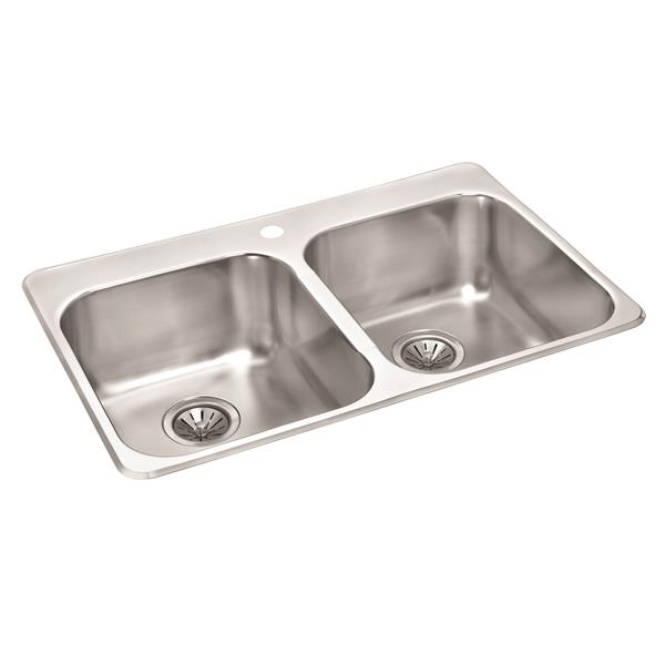 Wessan Stainless Mirrored Double Drop-In Sink - 20 1/2-in x 31-in x 9-in