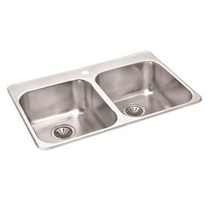 Stainless Mirrored Double Drop-In Sink - 20 1/2