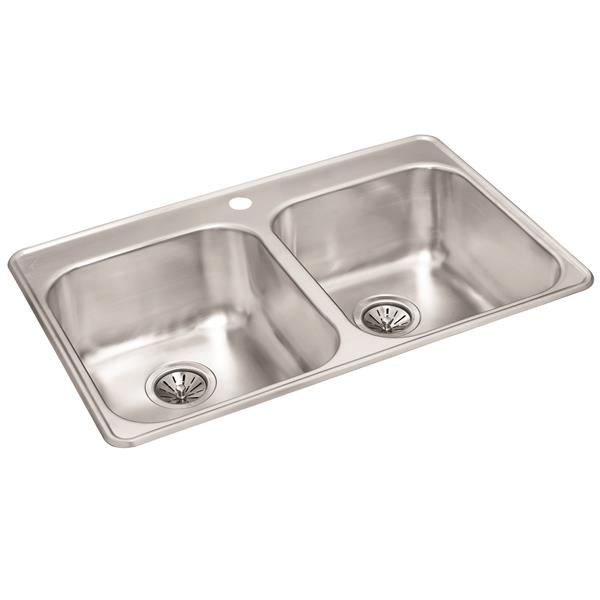 Wessan Stainless Steel Double Drop-In Sink - 20 7/8-in x 31 1/2-in x 9-in