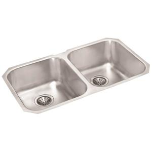 Wessan Double Undermount Sink - 19 3/4-in x 30 5/8-in x 8-in - Stainless