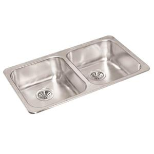 Wessan Double Undermount Sink - 18 1/2-in x 31 1/2-in x 7-in - Stainless