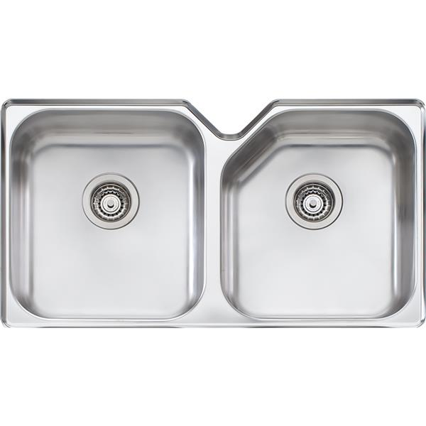 Wessan Stainless Steel Double Undermount Sink - 34-in x 20-in x 8-in