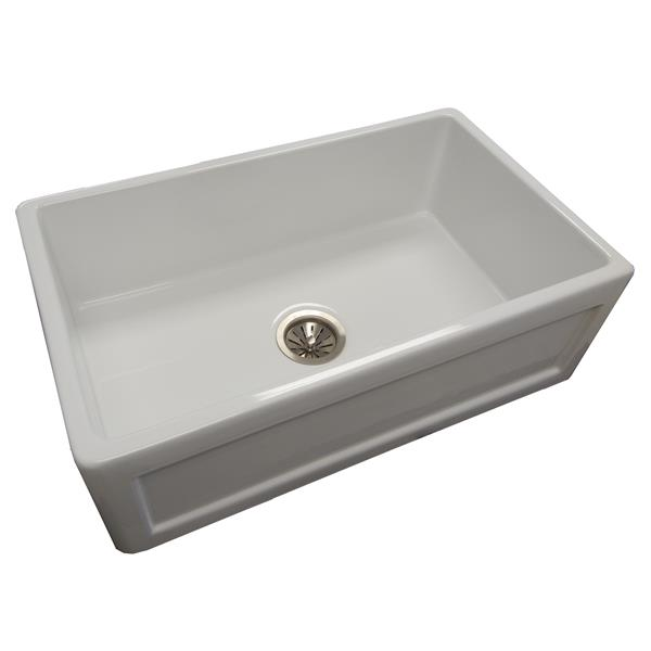Wessan Fireclay Farmhouse Sink - 29 3/4-in x 18-in x 10-in - White