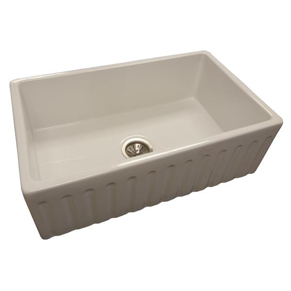 Wessan Fireclay Farmhouse Sink - 18-in x 29 3/4-in x 10-in - White