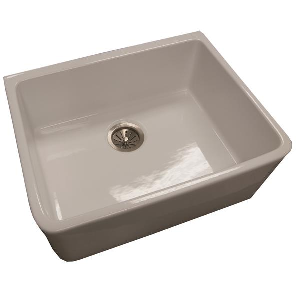 Wessan Fireclay Farmhouse Sink - 23 3/8-in x 18 3/4-in x 8 3/4-in