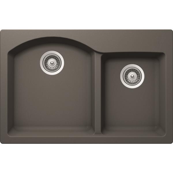 Wessan Granite Double 1-3/4 Drop-In Sink - 20 1/2-in x 31-in x 9-in