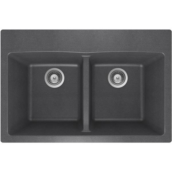 Wessan Granite Double Drop-In Sink - 21 1/2-in x 31-in x 9-in - Steel
