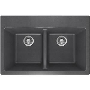 Wessan Granite Double Drop-In Sink - 21 1/2-in x 31-in x 9-in - Steel