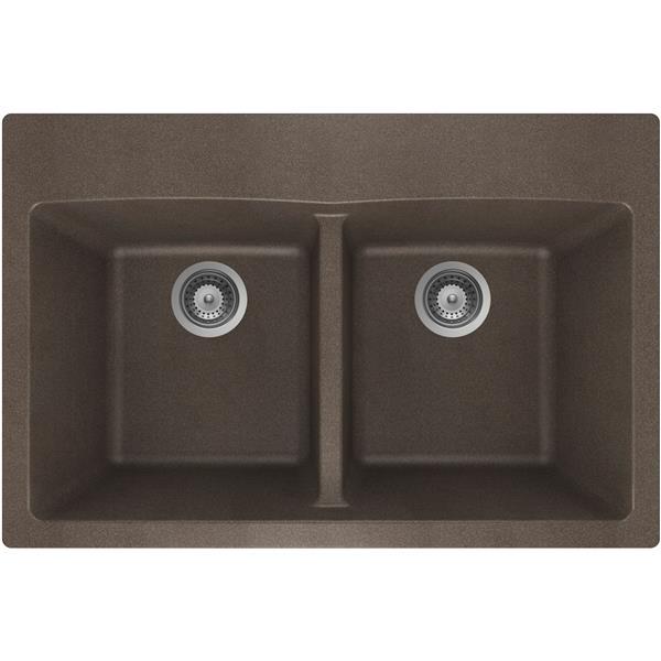 Wessan Granite Double Drop-In Sink - 21 1/2-in x 31-in x 9-in - Bronze