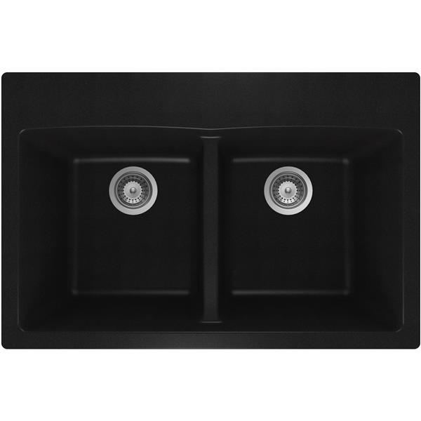 """Évier double en granite, sur plan, 21 1/2"""" x 31"""" x 9"""", noir"""