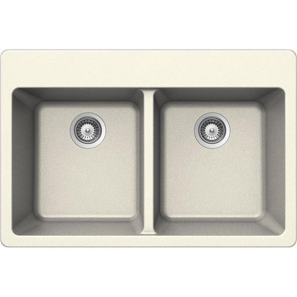 Wessan Granite Double Drop-In Sink - 22-in x 33-in x 9 1/2-in - Magnolia