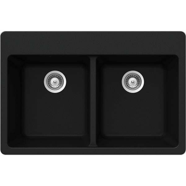 """Évier double en granite, sur plan, 22"""" x 33"""" x 9 1/2"""", noir"""