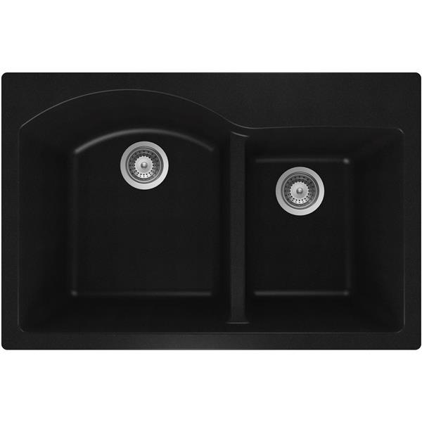 Wessan Granite Double 1-3/4 Drop-In Sink -20 1/2-in x 31-in x 9-in- Black