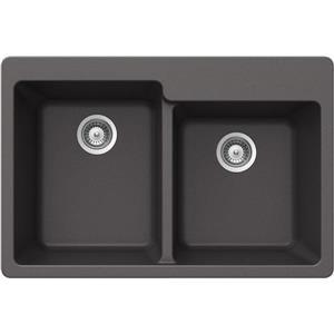 Évier double 1-3/4 granite, sur plan, 22